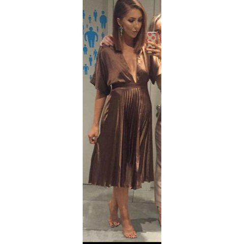6b882da5a2 Asos Bronze pleated Midi dress bought for €80 and only worn - Depop