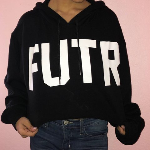"91dd9a6d61e Forever 21 cropped black sweater! Spells out ""FUTR."" It s a - Depop"