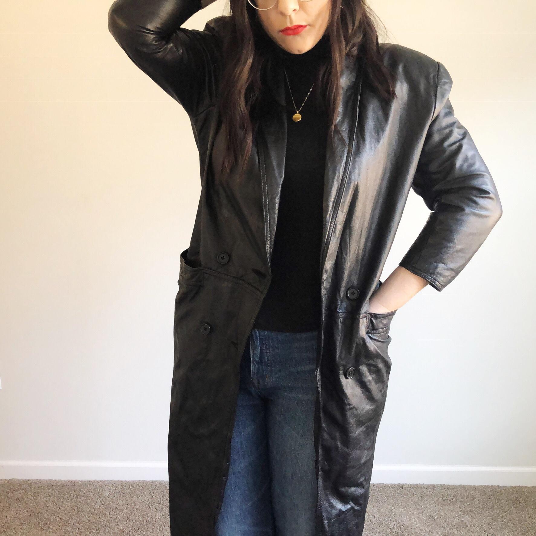 Vintage 1980s Asymmetrical Leather Trench Coat by Bagatelle Charcoal Gray Leather Long Trench Coat Steel Gray Leather Coat w Quilted Lining
