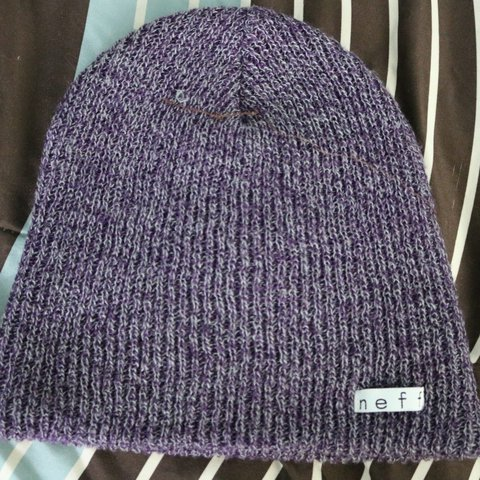 6146a8e0bd9 Neff Beanie - Purple and gray - One size Fits all -  Zumiez - Depop