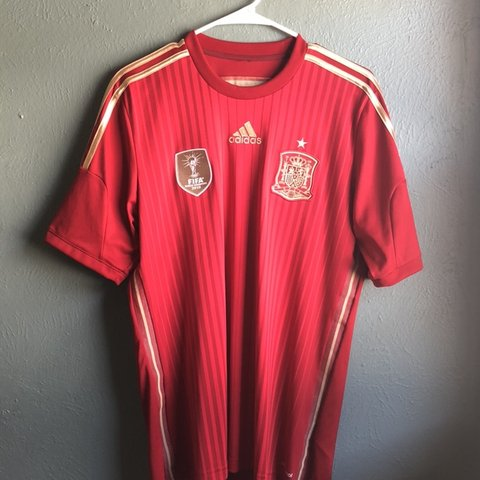 706fbac49 2014 Adidas Spain World Cup soccer jersey. Size medium. In - Depop