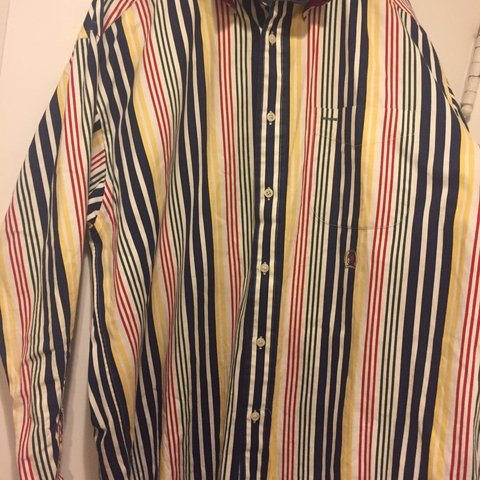 43093593a @oliver520. last year. Los Angeles, United States. Vintage Tommy Hilfiger  vertical stripes casual shirt. 90s crest. Retro multi-color button up.