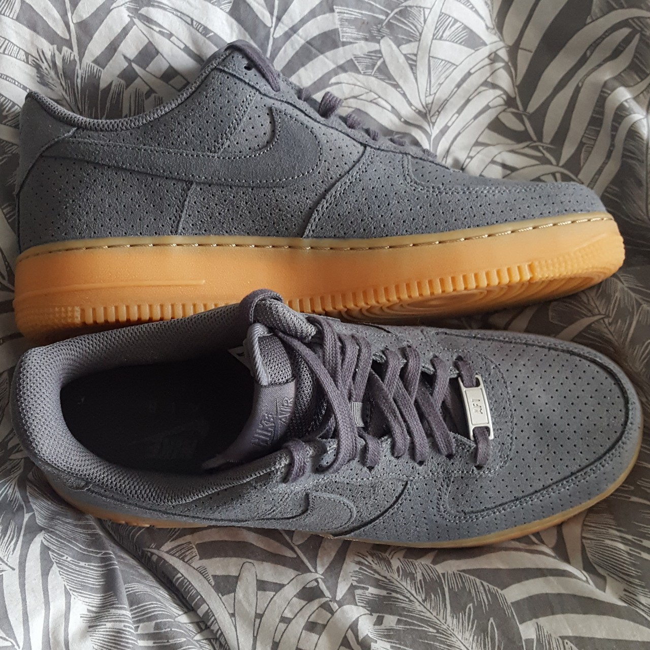 Women's Nike Air Force 1 07 Suede in Dark Grey UK Depop