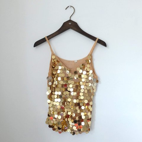37c06f85390a7 Gorgeous sparkly 1970s vintage gold crochet tank top with ⚡ - Depop
