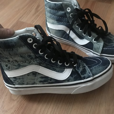 8872684341 Vans sk8 hi denim acid wash. Only worn once.  vans  jean - Depop
