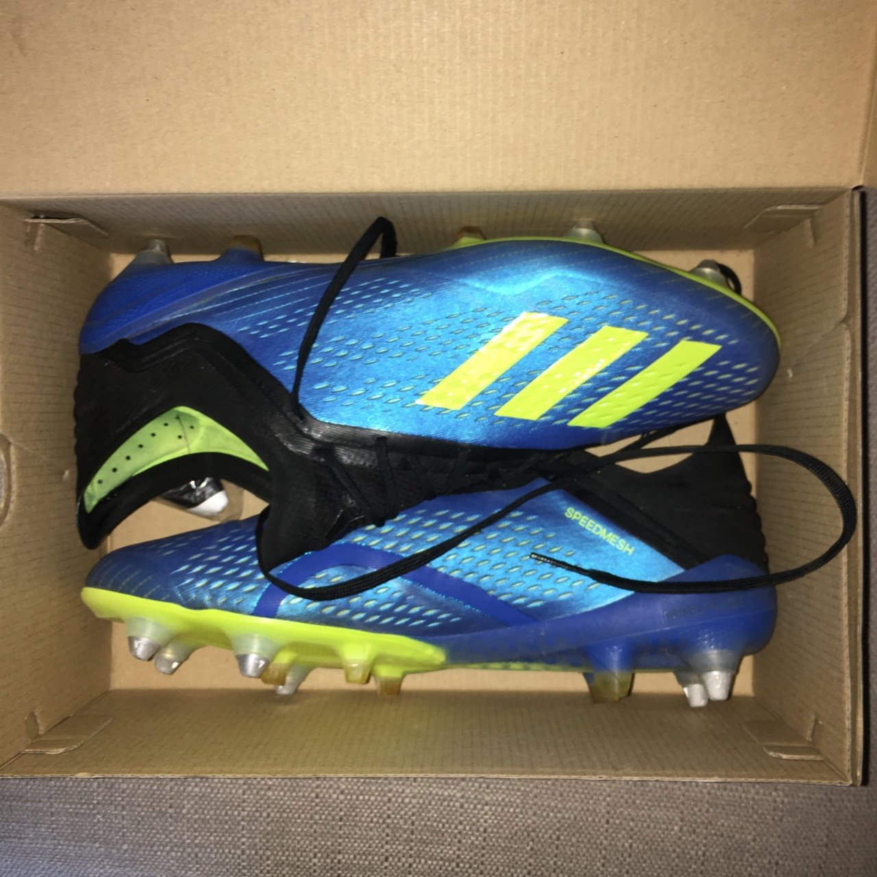 Adidas X 18.1 SG. Blue black yellow UK10 worn once and come - Depop 786c9e83add6