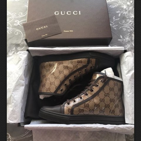 9b69ebfc28e Women s GENUINE size 4 Gucci High Top trainers Size 4 but a - Depop