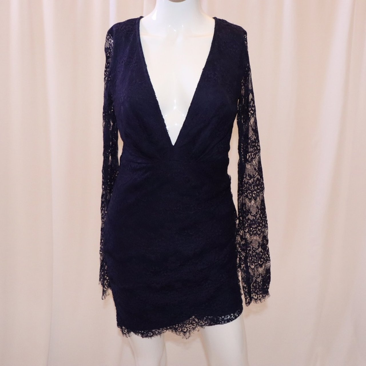 0af25eced0cd Navy Blue Long Sleeve Cocktail Dress - raveitsafe