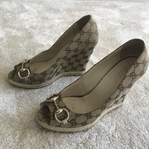 5f2d48d6b8d Gucci monogram cloth peep toe wedges Worn and loved but in - Depop