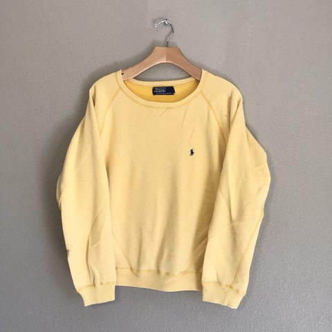 094ce1892 Vintage Yellow Polo Sweater Has a small hole and a spot 24 - Depop