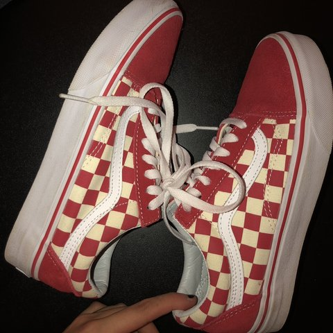 3f4b2c696e5dcd red and cream colored old skool classic vans! size 7 in new - Depop