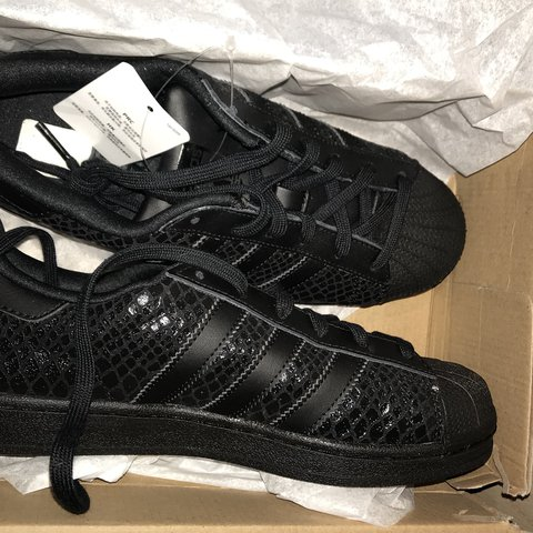 premium selection ac856 2e0e3  hannah326236. 11 months ago. Vancouver, United States. ON HOLD All black  snakeskin Adidas superstars
