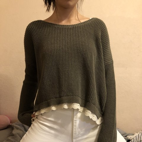 nice thick olive green knit sweater from kimchi blue from a - Depop d2cd7e755