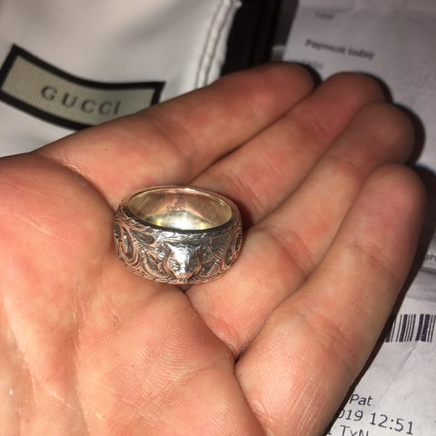 e0ec8c199 Men's Silver Gucci Ring size P Open to offers comes with box - Depop