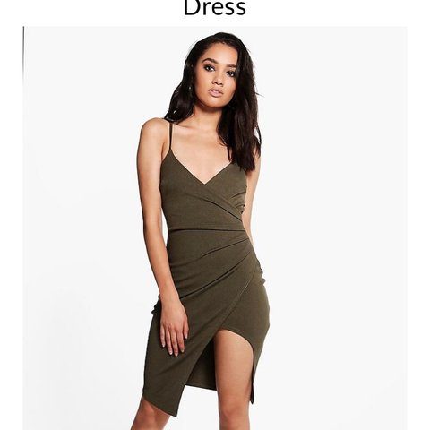 2fbc5c547d14 @flopachop. 4 months ago. Southampton, United Kingdom. Brand new with tags  never worn petite Boohoo khaki green wrap dress, gorgeous dress, size 12.