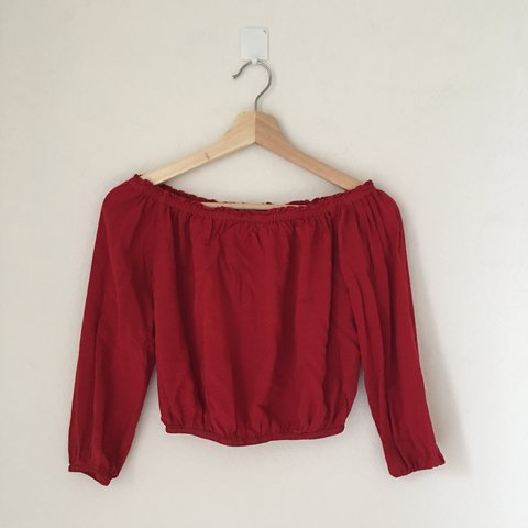 ee372367696f8 Brandy Melville Red Maura Top Soft woven cotton top in red a - Depop
