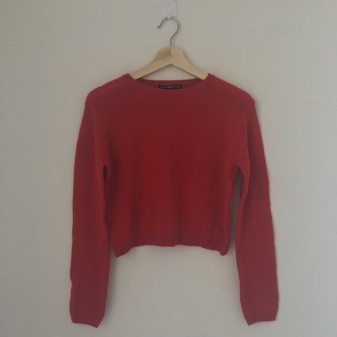 Brandy Melville Red Morgan Sweater Thin knit crew neck wool - Depop b483f7cd6