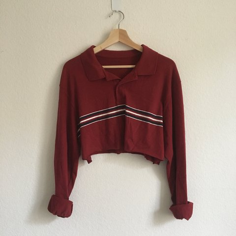 5bd7805a027f76 Vintage red polo crop top Long sleeve red polo collared crop - Depop
