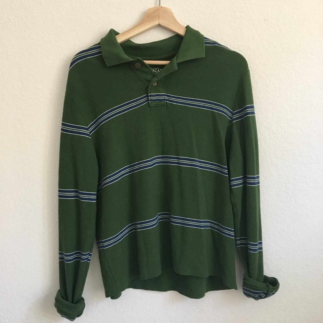 Green Polo Top Long Sleeve Collared Shirt With Blue And A Depop
