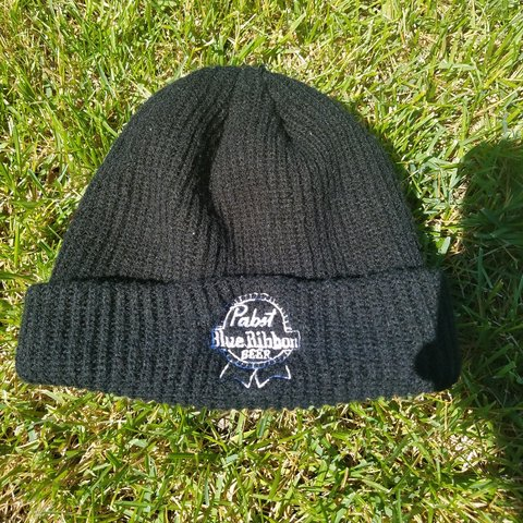 Black Pabst beanie Hardly Worn! Tighter fitting - Depop 3d203734666