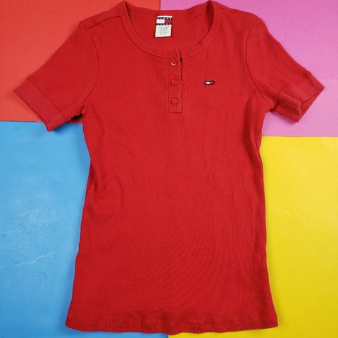 61dfff197c973 Vintage Tommy Jeans Red Top. This nice classic peice a small - Depop