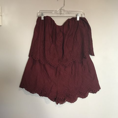 122e1dc4ef9 H M Eyelet Romper. Size  12 Burgundy. Has a zipper on the - Depop