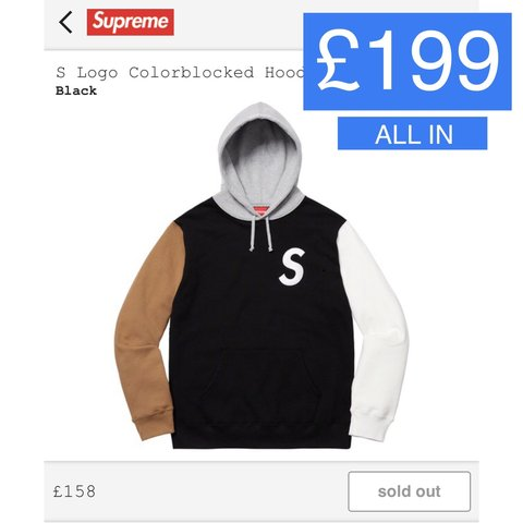 e6fb487ee234 Supreme S Logo Colorblocked Hooded Size  MEDIUM (M) ▫ BIN - - Depop