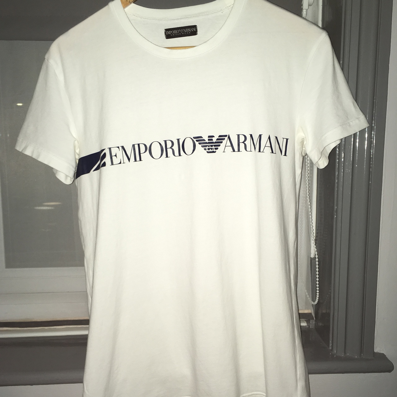 presenting picked up footwear Emporio Armani underwear t shirt white and blue... - Depop