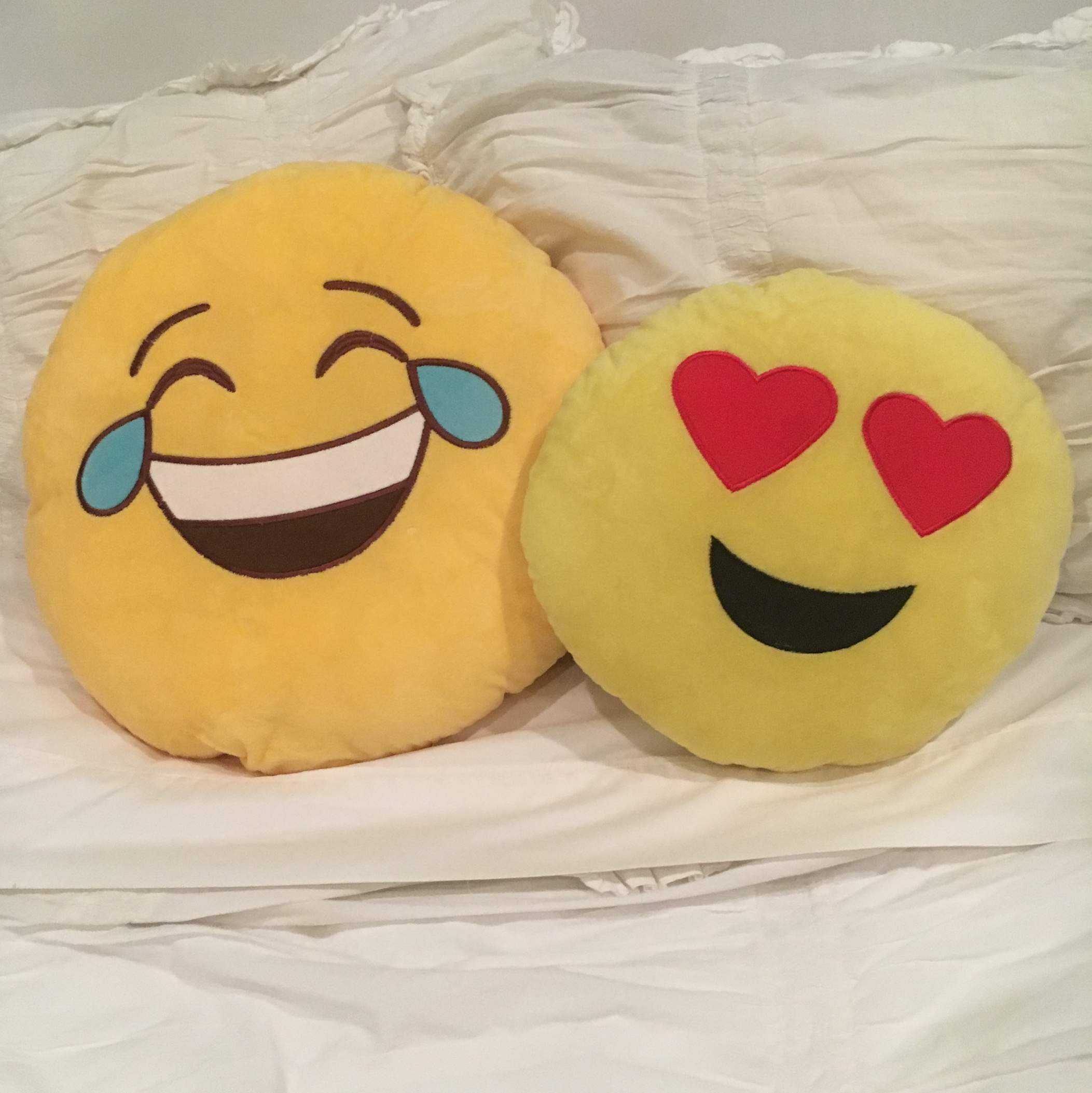 Two emoji pillows -laughing face emoji -heart eyes    - Depop