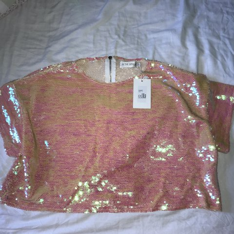 337bb614b6a19a In The Style orange/pink sequin detail crop top Perfect as - Depop