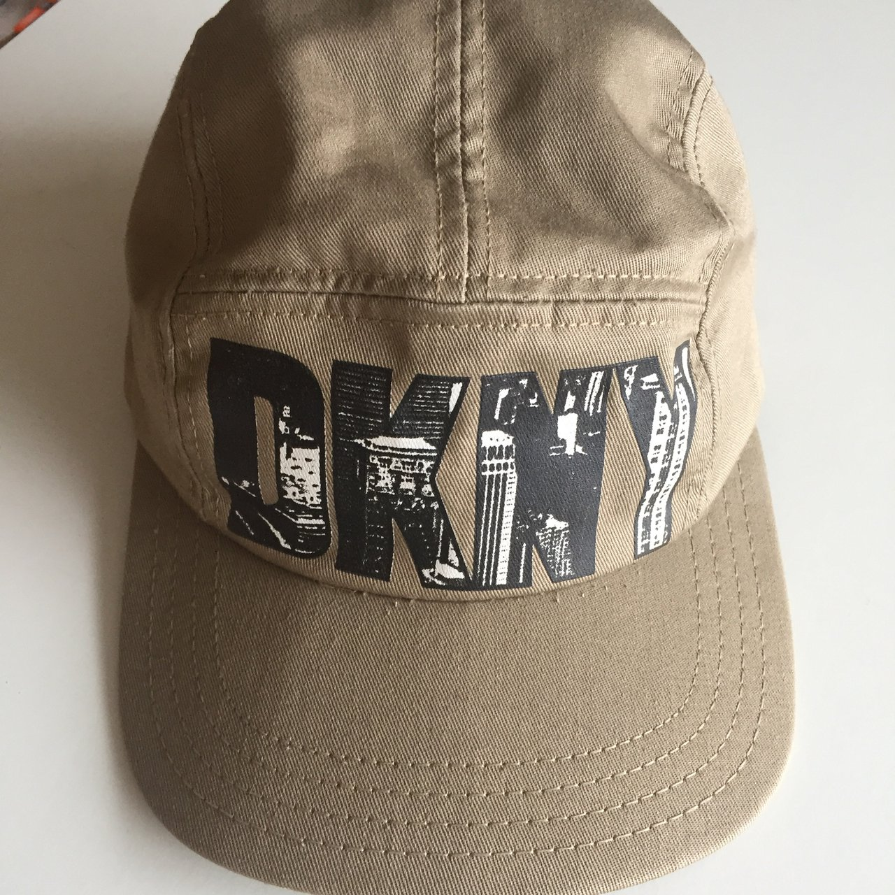 Womens Vintage DKNY 5 Panel Hat Cap Made in USA 90s Beige- a - Depop 2f636f774dd2