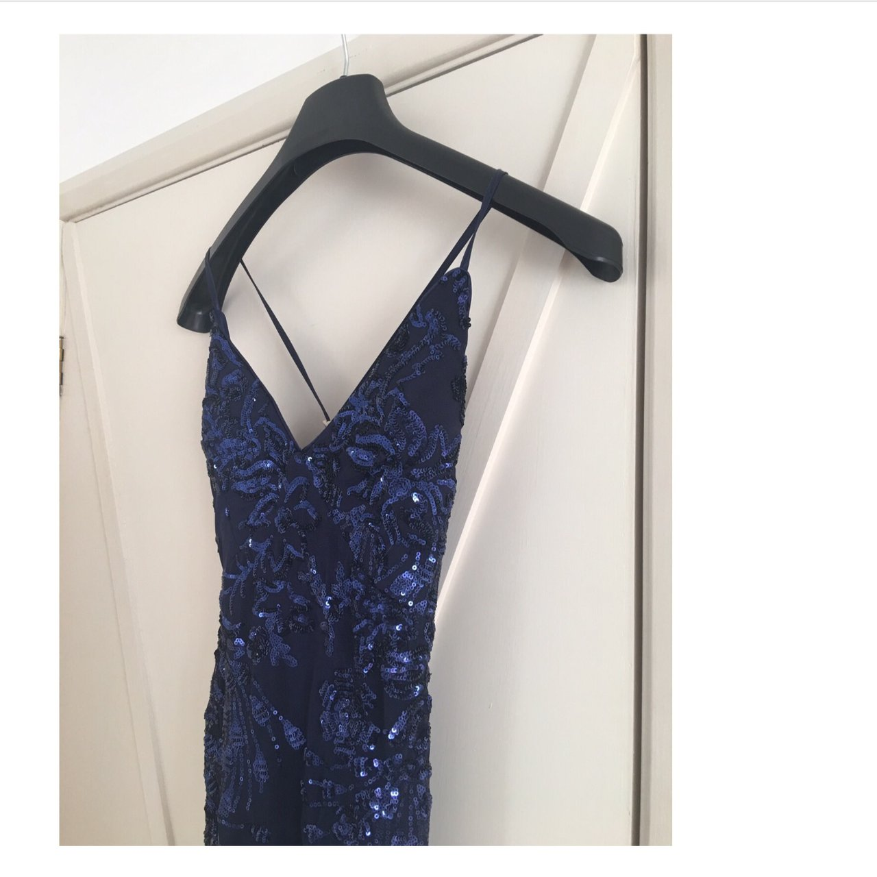 d88540cfde0 Navy Sequin Cross Back Fishtail Maxi Dress from Quiz at for - Depop