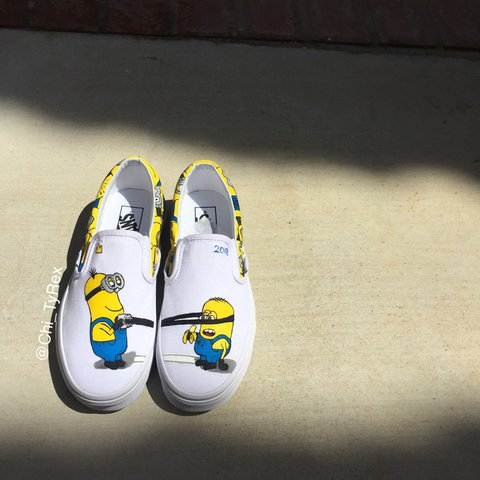 fa248727b0 Hand painted Minions Vans Slip Ons. Made to order. Contact - Depop