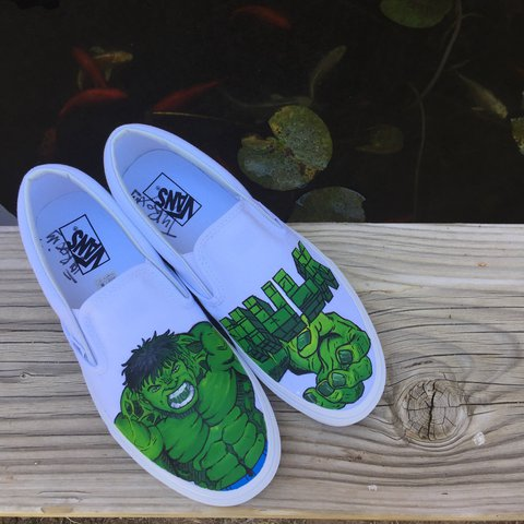 fd879ab775a Incredible Hulk Vans slip ons. All shoes are made to order. - Depop