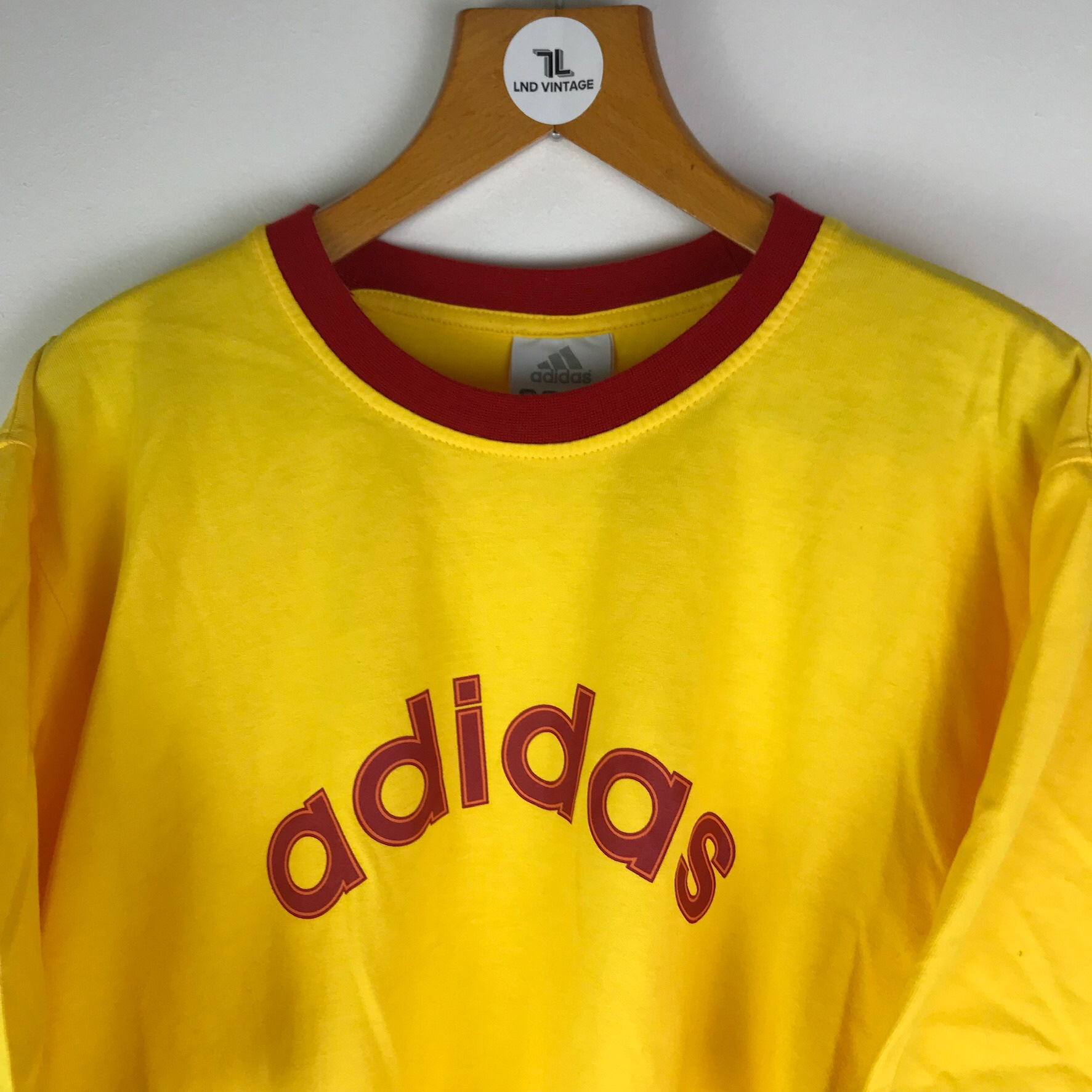 Vintage Adidas T Shirt in red and yellow Large Depop