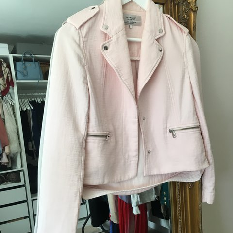 1158d082c0ff Baby pink cotton biker jacket from Zara. So handy and easy - Depop