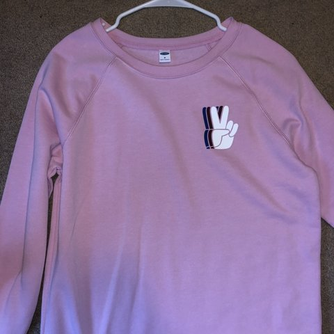 42bb43139ed Light Pink Sweatshirt With Peace Sign Size M From Old Navy Depop