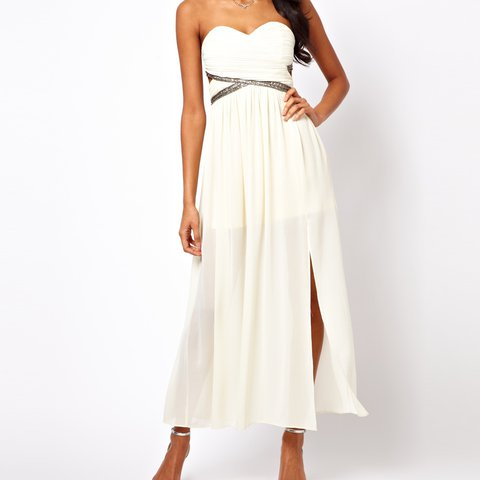 Tfnc maxi dress with embellished bandeau and sweetheart neckline