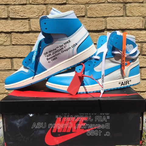 85c227fe3239e2 OFF-WHITE x Air Jordan 1 Retro High UNC Colour  University - Depop