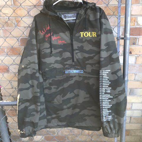 7d76ee84ec4fe @owner2owner. 6 months ago. Dallas, United States. travis scott astroworld  Pullover Windbreaker Camo Size Large
