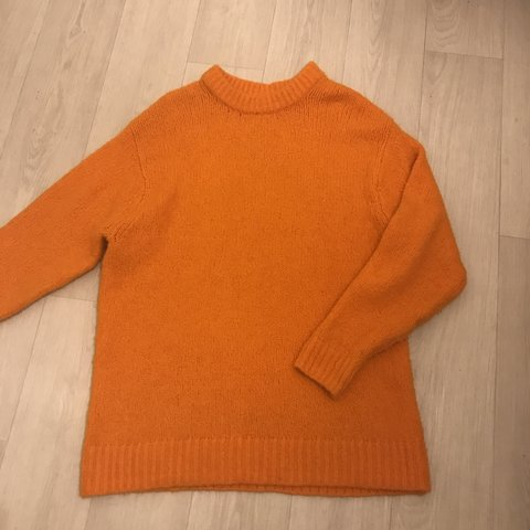 3f39721f2a73 Orange knit thick wooly jumper super cosy and oversized - Depop