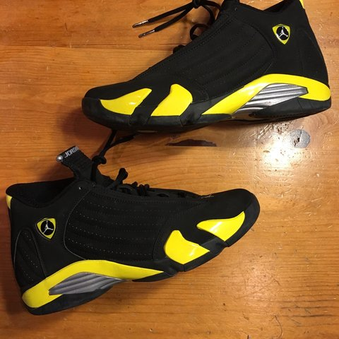 17c5e01cacc635 Air Jordan retro 14 thunder worn only 5 times. Comes with - Depop