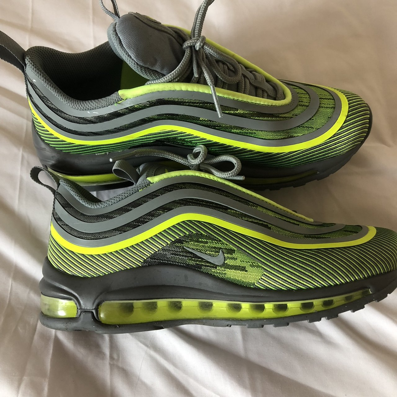 ccc67f7de2 NIKE AIR MAX 97 ULTRA GREY AND NEON GREEN SIZE UK 5 - Depop