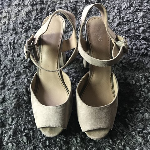 ed049af979e Mossimo faux nude suede ankle strap platform heels Very to a - Depop
