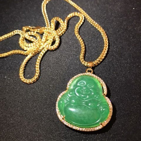 Pvd plated buddha jade pendant with 25 mm franco chain with depop aloadofball Gallery