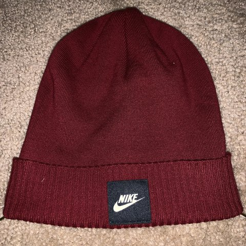 2bc57ad2 PRICE DROP!* Red/Black Nike 'Futura' knit beanie (one size) - Depop