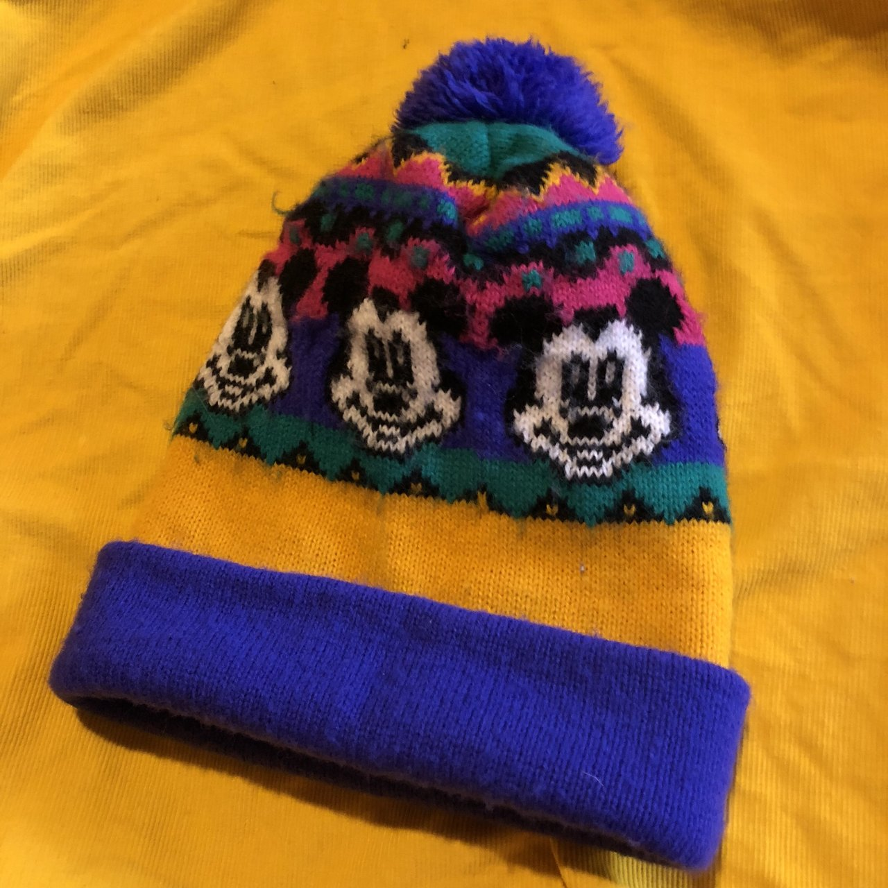 Disney Mickey Mouse Beanie Hat in Blue and Red wtih Mickey - Depop b24c3b346647