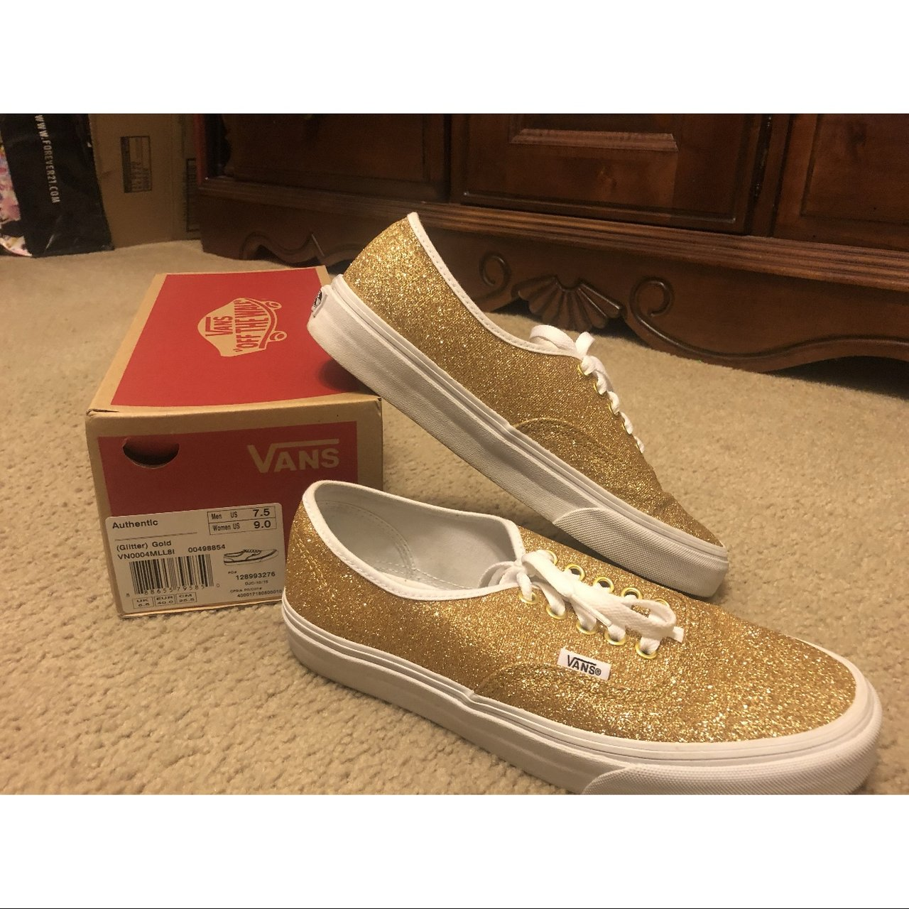 a56bc186fc56 Vans Authentic in gold glitter. Worn once. Why only have in - Depop