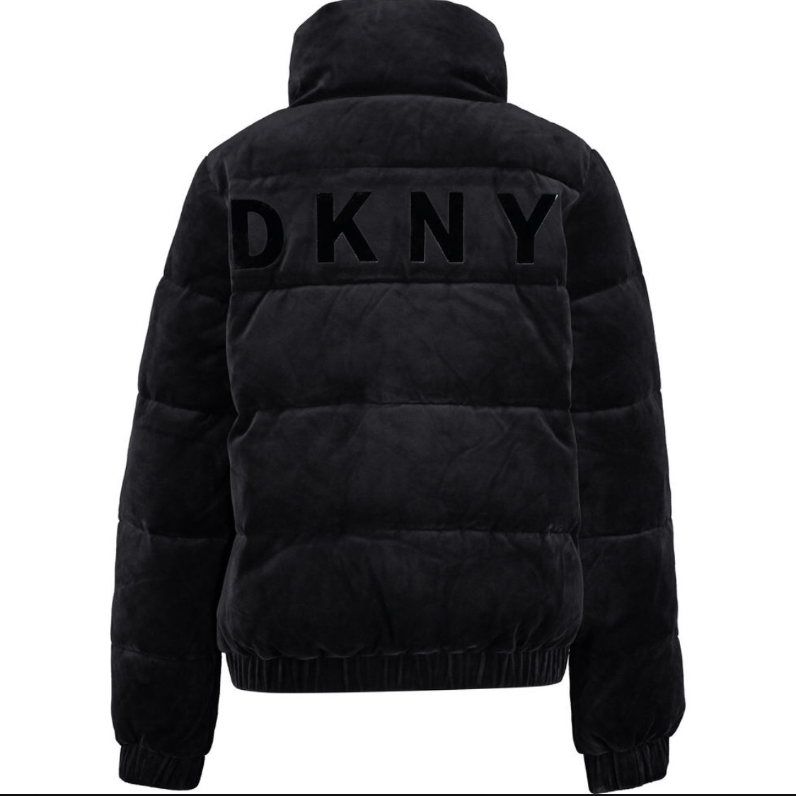 new authentic arrives search for clearance DKNY black velour puffer coat. y2k vibes! so soft... - Depop