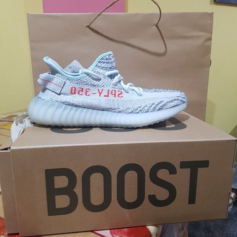 Yeezy Boost 350 V2 Blue Tint Grey Three Hi-Res Red The best - Depop 1b954d30b